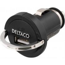 Auto įkroviklis DELTACO 1.2A, juodas / USB-CAR6