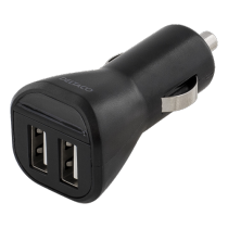 Auto įkroviklis DELTACO automobilinis, 2.4A, 2xUSB, juodas / USB-CAR95