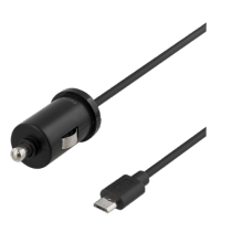 Auto įkroviklis DELTACO automobilinis, micro USB, 2.4A, 1.0m, juodas / USB-CAR97