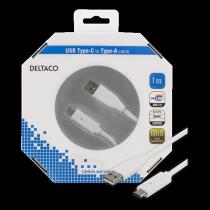 "Mob. telefono kabelis DELTACO USB 2.0 ""C-A"", 1.0m, baltas / USBC-1009-K"