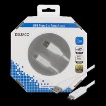 """Mob. telefono kabelis DELTACO USB 2.0 """"C-A"""", 2.m, bltas / USBC-1011-K"""