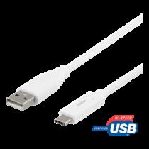 USB-C į USB-A kabelį, 2 m, 3A, USB 2.0, baltas DELTACO / USBC-1011M