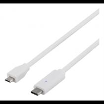 USB 2.0 kabelis, C - Micro B, 0,25 m, baltas DELTACO / USBC-1027