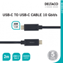USB-C į USB-C kabelis 10 Gbit/s 2m, DELTACO juodas / USBC-1124M