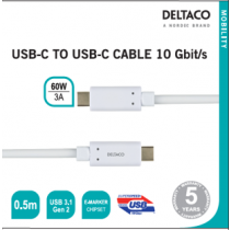 USB-C į USB-C kabelis 10 Gbit/s 0.5m, 60W, 3A DELTACO baltas / USBC-1126M
