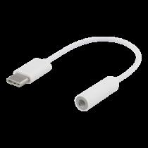 DELTACO USB-C į 3,5 mm adapterį, stereo, 10cm, baltas