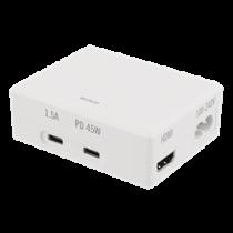 Jungčių stotelė DELTACO 45W USB-C PD, 4K HDMI, USB 3.1 Gen 1, balta / USBC-1288