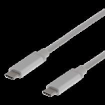 DELTACO USB-C į USB-C kabelis, 2 m, 30W USB PD, 10 Gbps, sidabrinis / USBC-1369