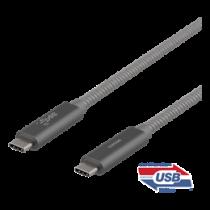 "USB-C kabelis DELTACO ""SuperSpeed"" , 1 m, pintas, USB 3.1 Gen 2, 10 Gbps, 100W / USBC-1412M"