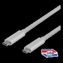 USB-C kabelis DELTACO 1m, SuperSpeed , pintas, USB 3.1 Gen 2, 10 Gbps, 100W, sidabrinė / USBC-1417M