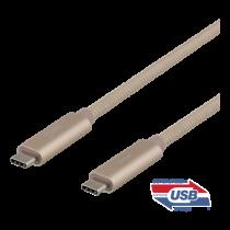 "USB-C kabelis DELTACO 0.5m, ""SuperSpeed"", pintas, USB 3.1 Gen 2, 10 Gbps, 100W / USBC-1421M"
