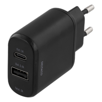 DELTACO kroviklis 230V to 5V USB, 3A 15W, 1xUSB-C, 1xUSB-A, juodas / USBC-AC103