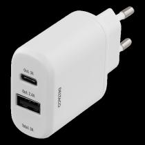 AC Adapteris DELTACO, USB C-A, baltas / USBC-AC105