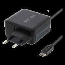 18W USB-C nešiojamo kompiuterio įkroviklis, PD 2.0, 3A DELTACO juoda / USBC-AC126