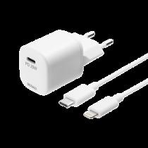 "DELTACO USB sieninis įkroviklis, USB-C, PD 20 W, 1 m C - ""Lightning""  USBC-AC141"
