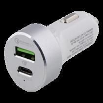 Automobilinis įkroviklis DELTACO USB-C, baltas / USBC-CAR111