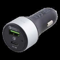 Automobilinis įkroviklis DELTACO , USB-C, 36W, USB-C PD, QC 3.0, 12-18V DC, juodas/USBC-CAR112
