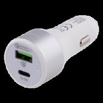 Automobilinis įkroviklis DELTACO USB-C, 63W, USB-C PD, QC 3.0, 12-18V DC, baltas/USBC-CAR115
