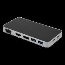 DELTACO USB-C įkrovimo stotelė, 3x USB-C, 2x USB-A 3.1, VGA, HDMI, juoda