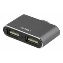 USB-C šakotuvas DELTACOIMP USB 3.1, BC 1.2, 100W, 2xUSB-A, 2xUSB-C, juodas / USBC-HUB105
