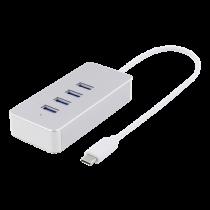 USB-C šakotuvas DELTACO 4xUSB-A, 0.1m kabelis, sidabrinis / USBC-HUB7