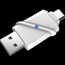 Micro SD kortelių skaitytuvas DELTACOIMP USB3.1 Type-C/A Gen 1, 5 Gbps, sidabrinis / USBC-MSD