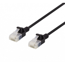 DELTACO U/UTP Cat6a patch kabelis, plonas, 3.5mm, 0.5m, 500MHz, juodas / UUTP-1017