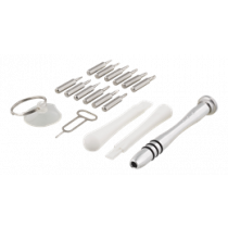 Išmaniųjų telefonų remonto įrankių rinkinys, atsuktuvas, siurbimo taurė, 17 vnt. DELTACO juoda / VK-50
