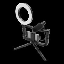 """""""GADGETMONSTER """"Vlogging Kit"""", pilnas """"vlog"""" rinkinys su LED žiediniu apšvietimo trikoju ir mikrofonu GDM-1022"""