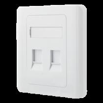 DELTACO Keystone sieninė dėžutė, 2 ports, dangtelis nuo dulkių, balta / VR-227