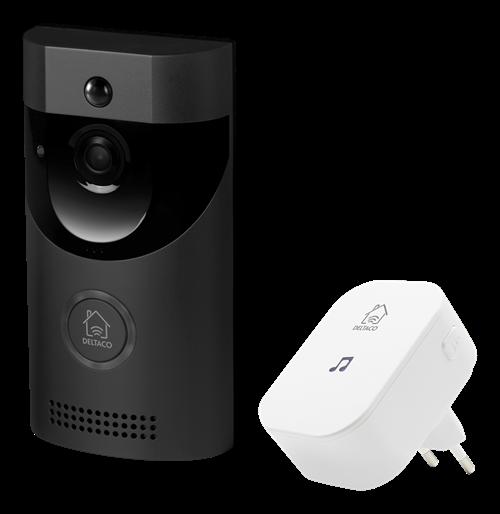 DELTACO SMART HOME doorbell with camera, WiFi, IP44, IR, black / SH-DB01
