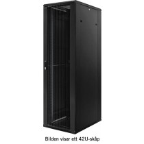 Floor cabinet TOTEN 12U, 600x800, perforated front & rear door, Max 800 kg, black / 19-AD6812PP