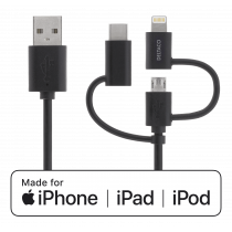 Universal Power and Sync Cable DELTACO  2m, Micro USB, USB-C, Lightning, black / IPLH-156