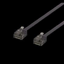 Patch cable DELTACO U/UTP Cat6a, flat, 0.15m, 1mm thick, black / UUTP-2077