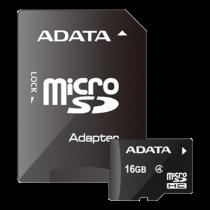 Memory card A-DATA microSDHC, 16GB, Speed Class 4, 5/14 MB/s,  incl. SD adapter, black AUSDH16GCL4-RA1 / ADATA-275