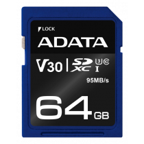 Memory card A-DATA Premier Pro SDXC, UHS-I U3 Class 10, 64GB, blue / ADATA-338