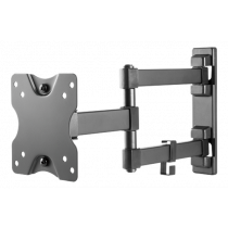 "DELTACO Fully articulated 3-way wall bracket, 13-27 ""up to 20 kg, tilt, turn, level adjust, VESA, black  ARM-1204"