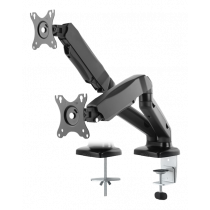 """DELTACO Fully articulated double desk stand with gas spring, 13-27 """"up to 13 kg, tilt, rotate, turn, VESA, black / ARM-1300"""