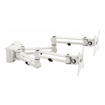 """Double monitor arm for track panel  DELTACO OFFICE 17-32 """"up to 8 kg (per screen), tilt, turn, rotate, white / DELO-0158"""