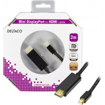 DELTACO mini DisplayPort to HDMI cable with audio, Full HD @60Hz, 2m, / DP-HDMI204-K