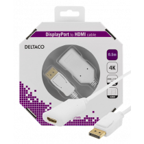 DELTACO DisplayPort to HDMI 2.0b cable, 4K at 60Hz, 0.5m, white / DP-HDMI35-K