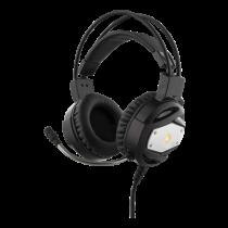 DELTACO GAMING Stereo Gaming Headset with LED Lighting, 50mm Item, Orange LED, Black / Silver / GAM-022