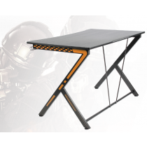 Gaming table DELTACO GAMING metal legs, PVC treated surface, built-in hanger for headset, black/orange / GAM-049
