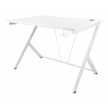 Gaming table DELTACO GAMING metal legs, PVC treated surface, built-in hanger for headset, white / GAM-055-W