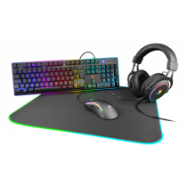 Gaming Kit DELTACO GAMING 4-in-1, UK, RGB, Headset / Keyboard / Mouse / Mousepad, black / GAM-084-UK