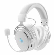 Headset DELTACO GAMING wireless, 17 hours playing time, 2.4 GHz USB receiver, built-in 1100 mAh battery, white / GAM-109-W