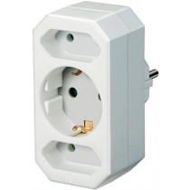 Socket outlet with 1x grounded CEE 7/4 and 2x IEC 60906-1 socket, 1xCEE 7/7 connection, pet protection Brennenstuhl white / GT-470