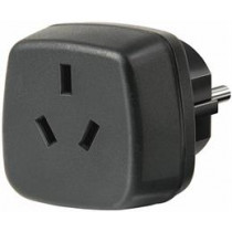 Travel adapter allows you to connect AU / Asia units to EU terminals, grounded Brennenstuhl black / GT-481