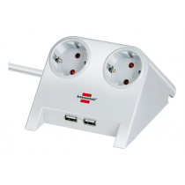 Brennenstuhl 2x USB 2.0 port, 2100mA 2-way socket, white, 1.8m H05VV-F 3G1.5  GT-634
