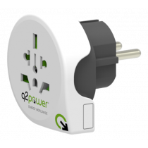 Q2power grounded travel adapter, worldwide to EU (Schuko), 10A, white / GT-900